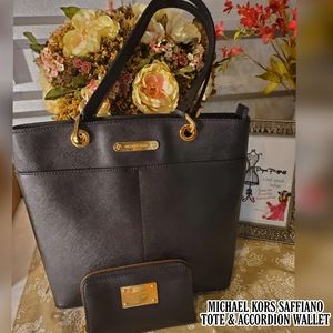 MICHEAL KORS BLACK SAFFIANO LEATHER TOTE w WALLET